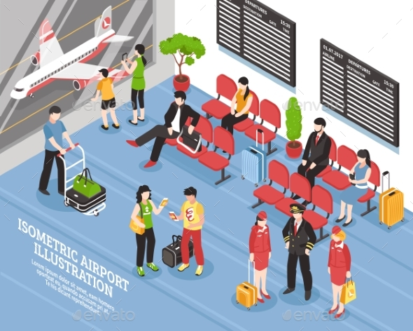 Airport Departure Lounge Isometric Poster - People Characters