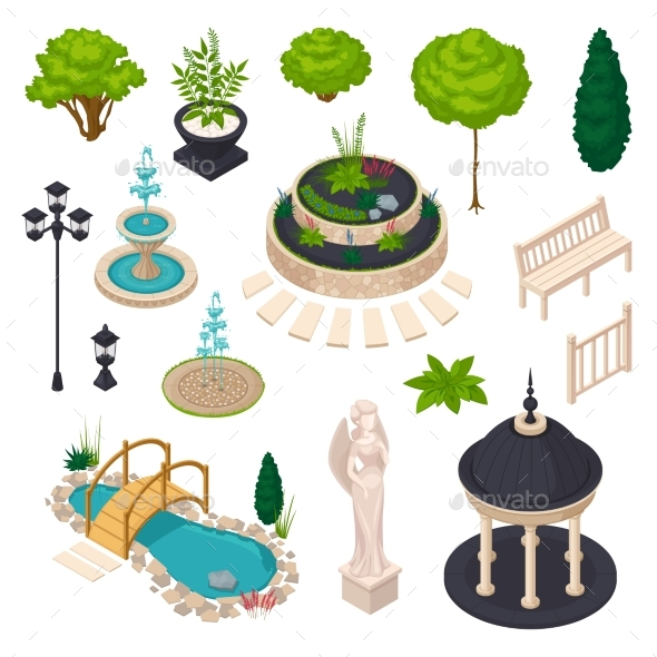 Isometric Elements For City Landscape Constructor - Objects Vectors