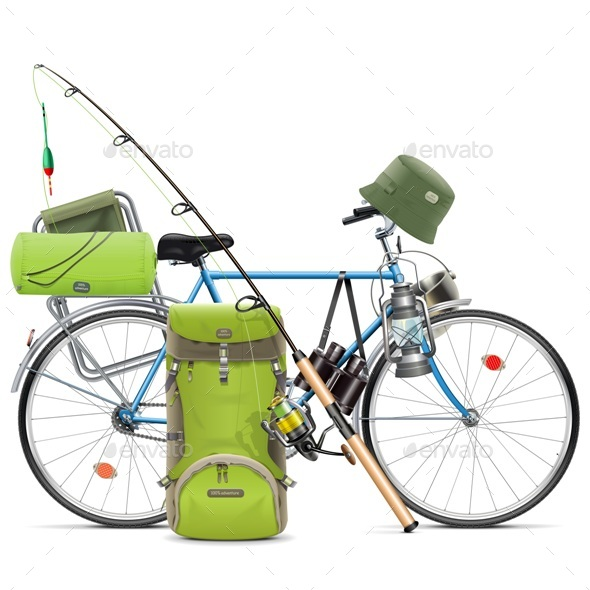 Vector Fishing Bicycle - Sports/Activity Conceptual