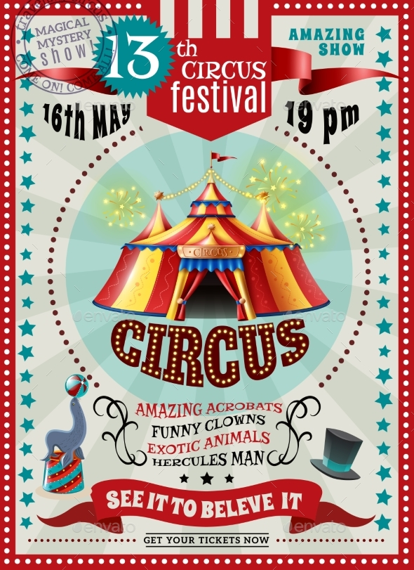 Circus Festival Announcement Retro Poster - Miscellaneous Vectors
