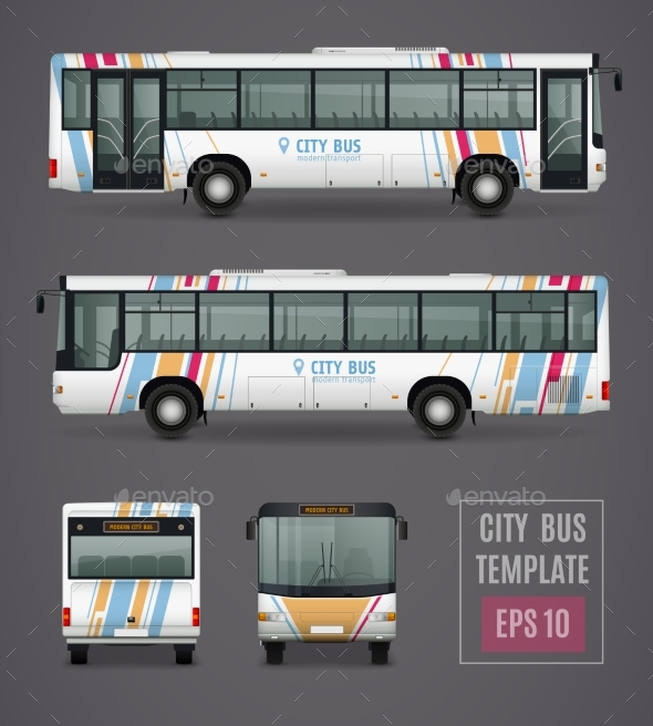 City Bus Template In Realistic Style - Man-made Objects Objects