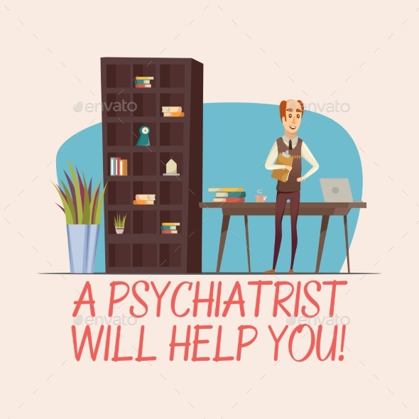 Psychologist Flat Illustration - Health/Medicine Conceptual