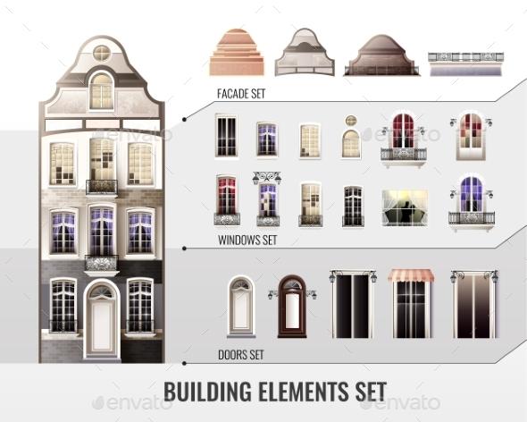 European Building Elements Set - Buildings Objects