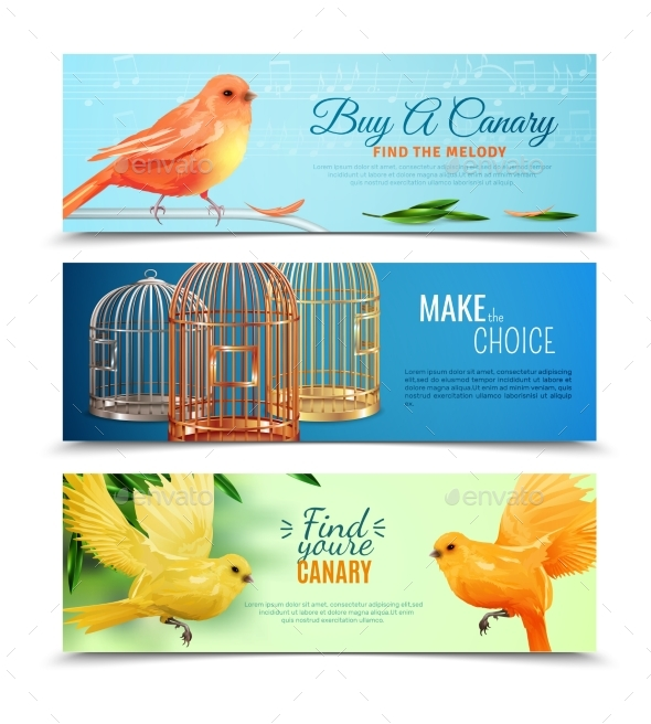 Canary And Birdcages Banners Set - Animals Characters