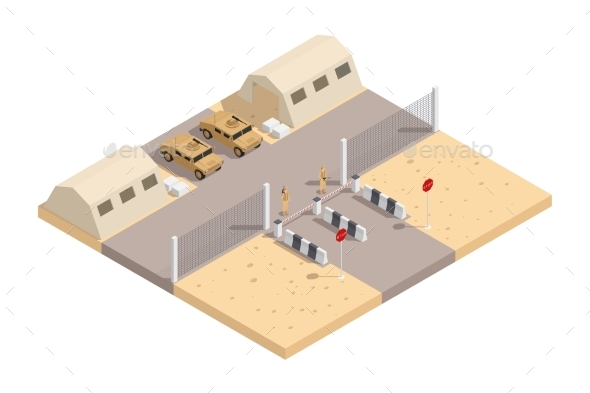 Military Isometric Composition - Objects Vectors