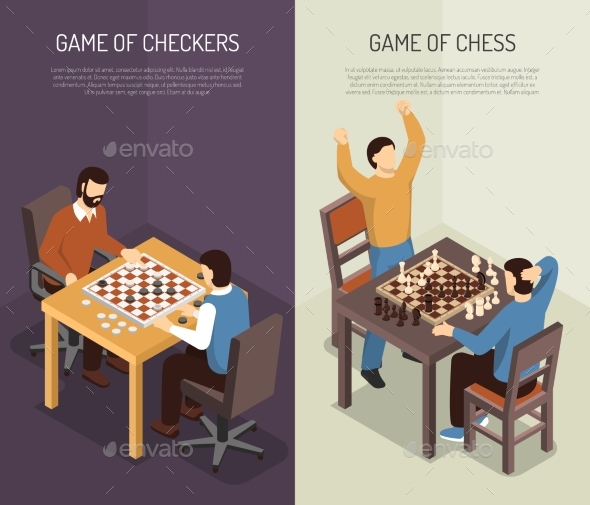 Board Games Vertical Banner Set - Objects Vectors