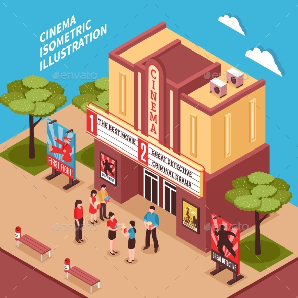Cinema Building Isometric Composition - Miscellaneous Vectors