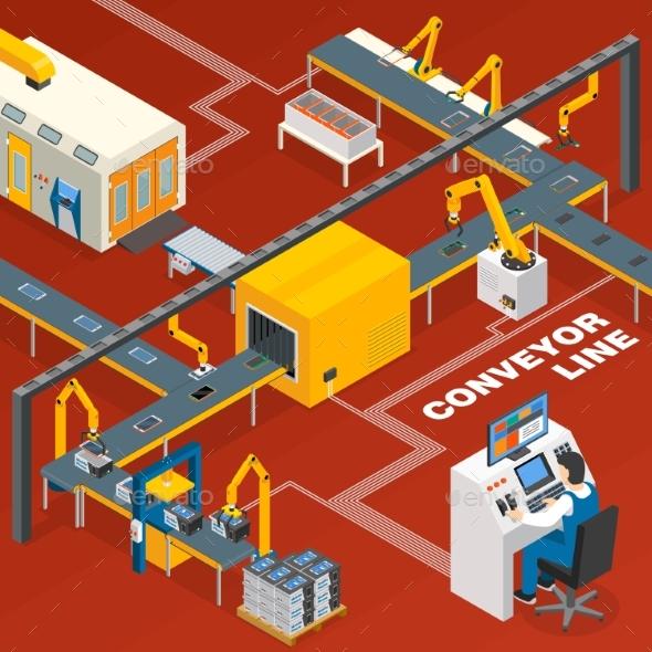 Conveyor Line And Operator Concept - Technology Conceptual
