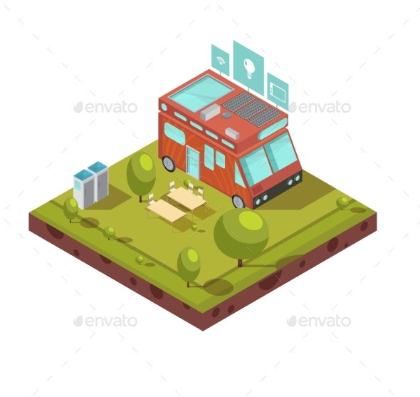Mobile Home Isometric Composition - Technology Conceptual