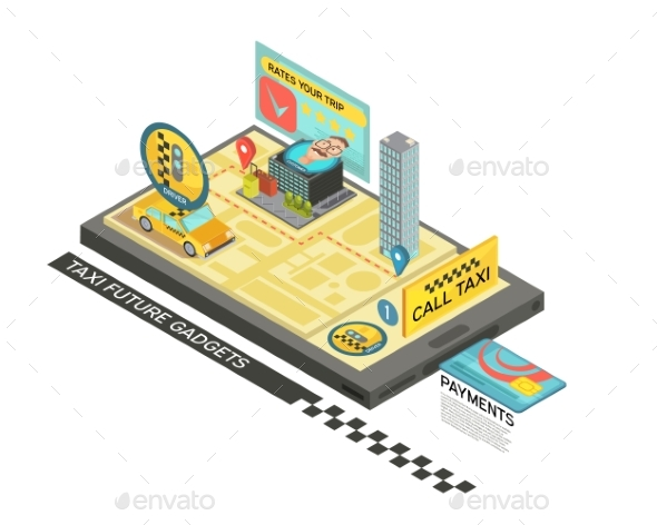 Call Taxi By Gadget Isometric Design - Man-made Objects Objects
