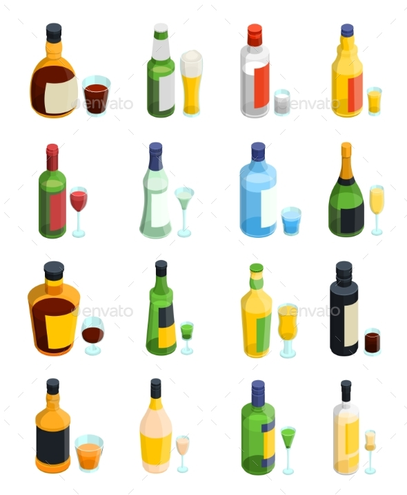Colored Isometric Alcohol Icon Set - Miscellaneous Vectors