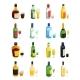 Colored Isometric Alcohol Icon Set