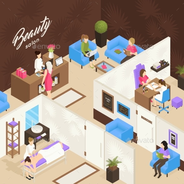 Beauty Salon Isometric Design Concept - Miscellaneous Vectors