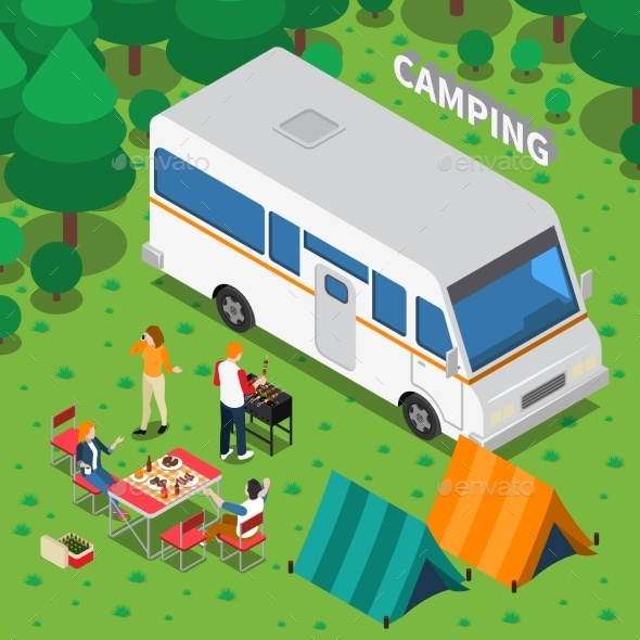 Camping Isometric Composition - People Characters