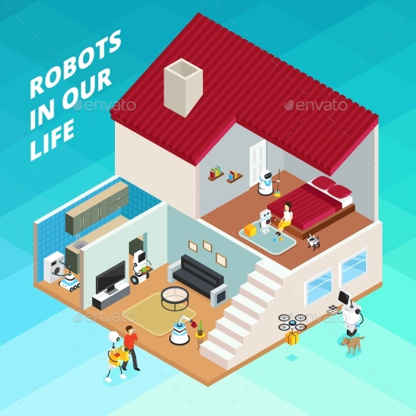 Robots Isometric Illustration - Technology Conceptual