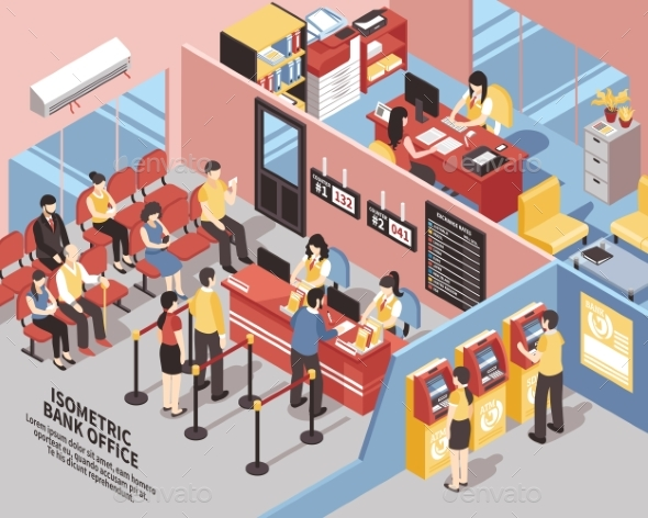 Bank Office Isometric Illustration - Business Conceptual