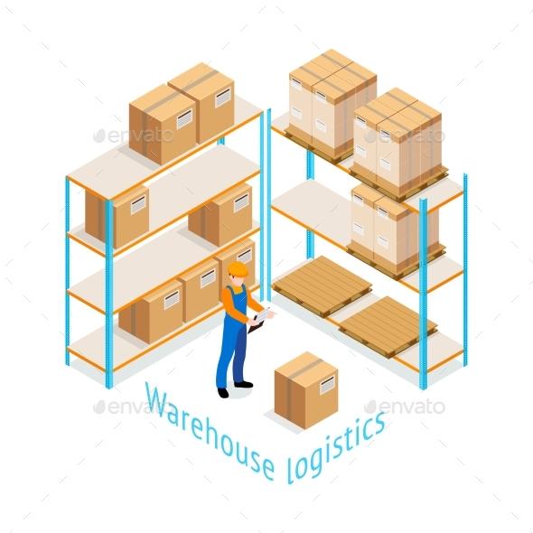 Warehouse Logistics Isometric Design - Business Conceptual