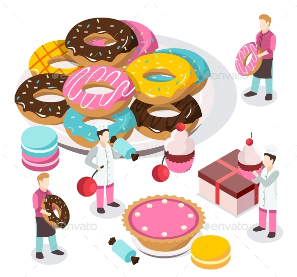 Sweet Shop Isometric Composition - Food Objects