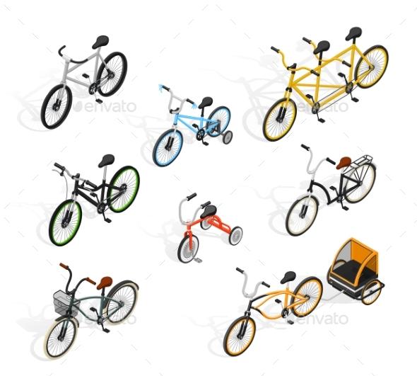 Push Cycles Isometric Set - Miscellaneous Vectors