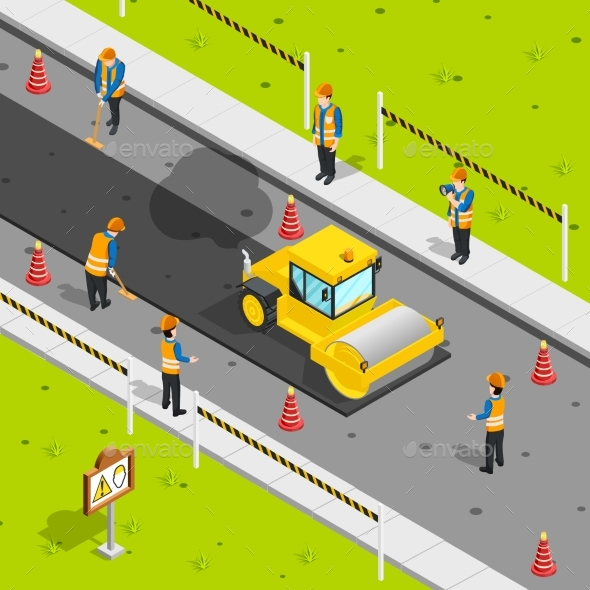 Asphalt Laying Isometric Composition - Miscellaneous Vectors