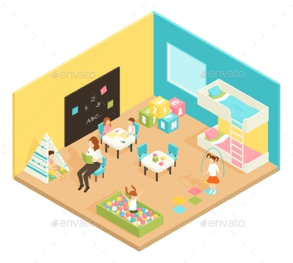 Kindergarten Play Room Isometric Design Concept - Miscellaneous Vectors