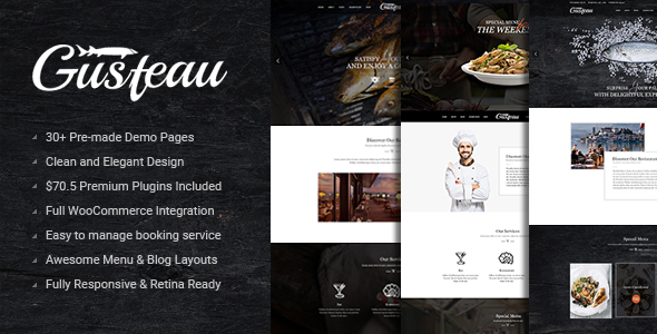 Gusteau – Elegant Food - Coffee and Restaurant WordPress Theme - Restaurants & Cafes Entertainment