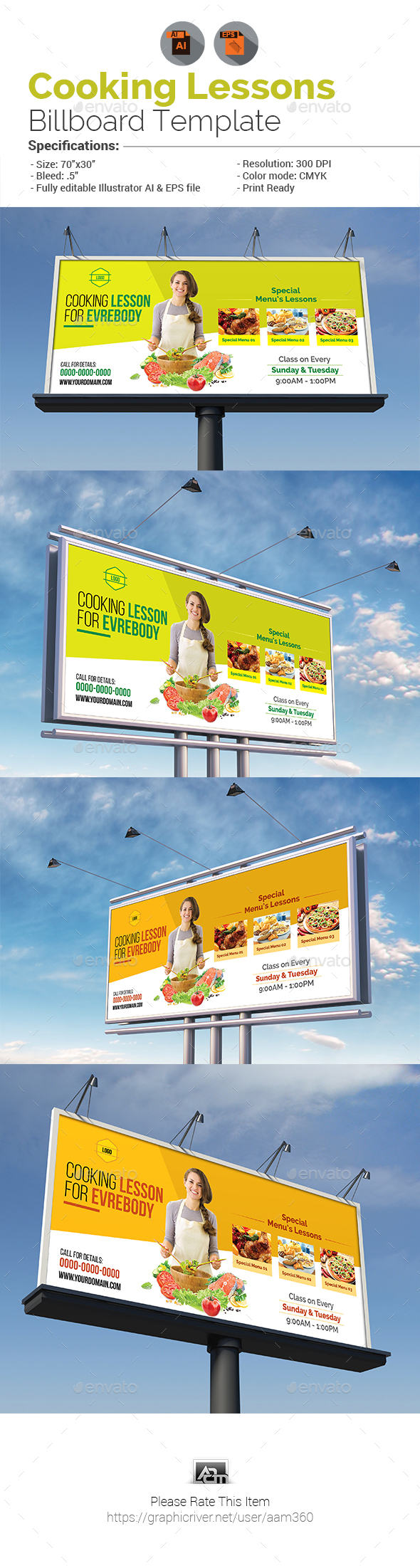 Cooking Lessons Billboard Template - Signage Print Templates