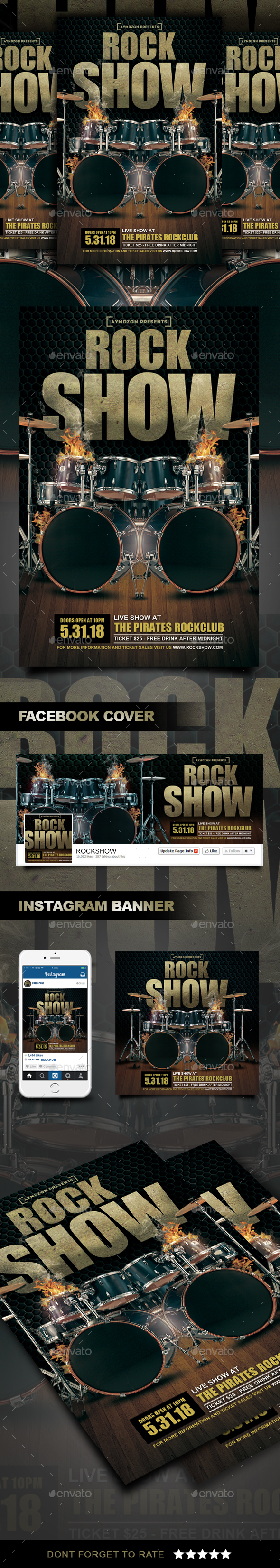 Rock Show Flyer - Clubs & Parties Events