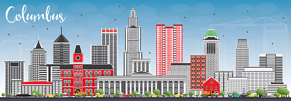 Columbus Skyline with Gray Buildings and Blue Sky. - Buildings Objects