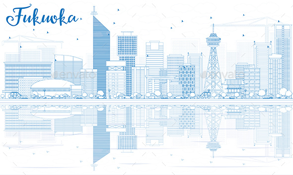 Outline Fukuoka Skyline with Blue Landmarks and Reflections. - Buildings Objects