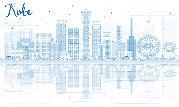 Outline Kobe Skyline with Blue Buildings and Reflections. - Buildings Objects
