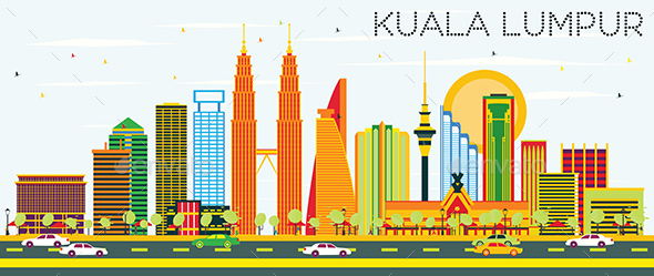 Kuala Lumpur Skyline with Color Buildings and Blue Sky. - Buildings Objects