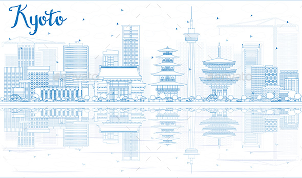 Outline Kyoto Skyline with Blue Landmarks and reflections. - Buildings Objects