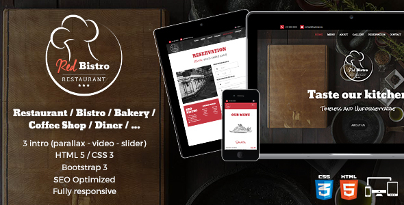 Red Bistro - Restaurant Responsive HTML5 Template
