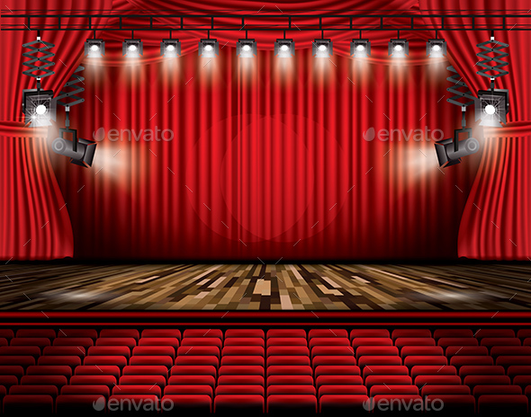 Red Stage Curtain with Spotlights, Seats and Copy Space. - Buildings Objects
