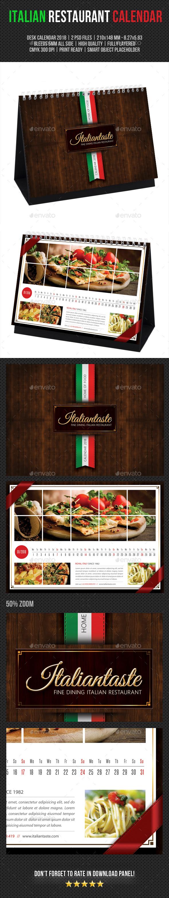 Italian Restaurant Desk Calendar 2018 - Calendars Stationery