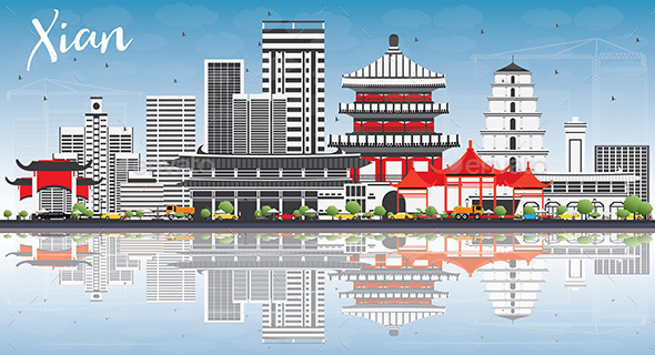 Xian Skyline with Gray Buildings, Blue Sky and Reflections. - Buildings Objects
