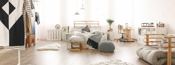 Bed in the bedroom - Stock Photo - Images