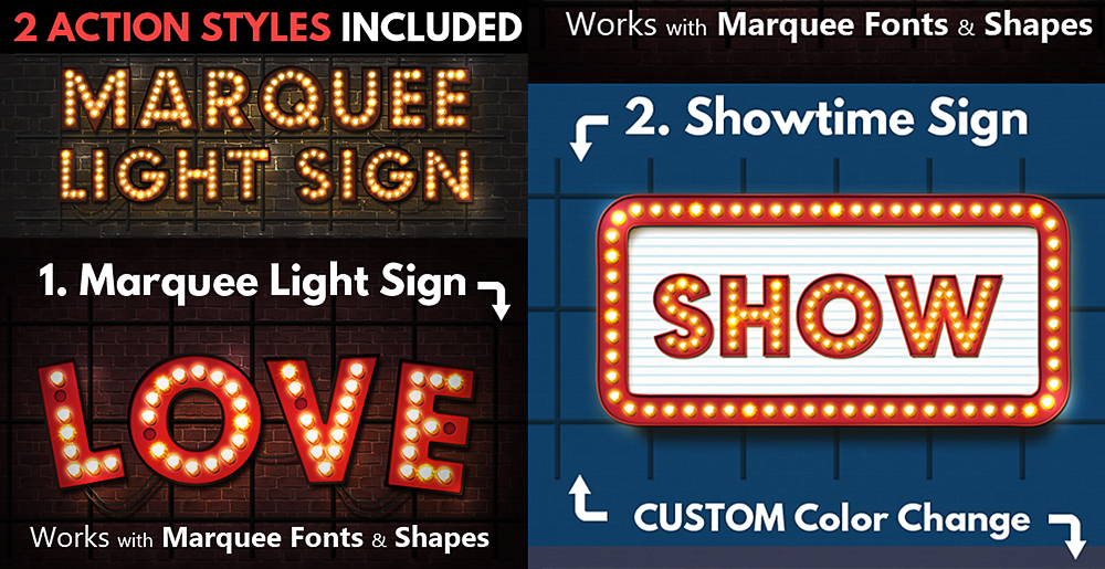 Marquee Lights and Showtime Sign shop Actions by psddude