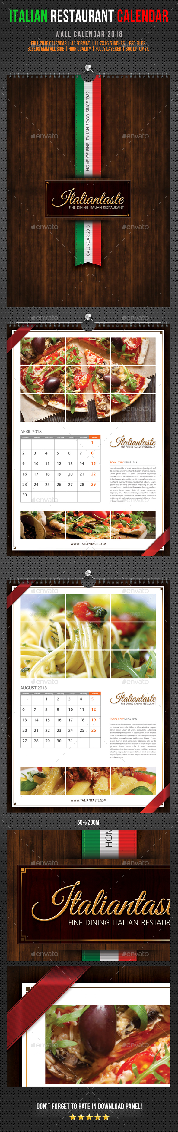 Italian Restaurant Wall Calendar 2018