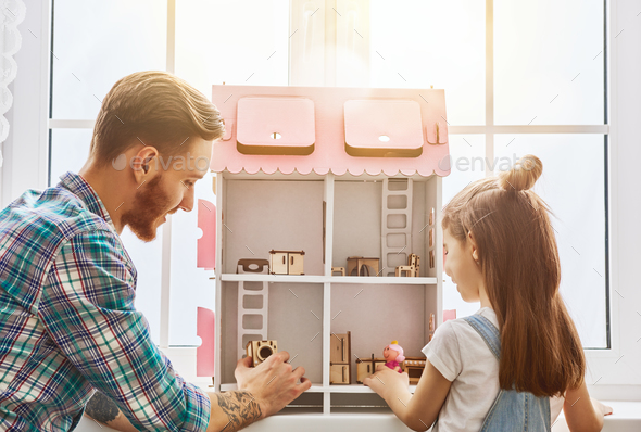 father and daughter play - Stock Photo - Images