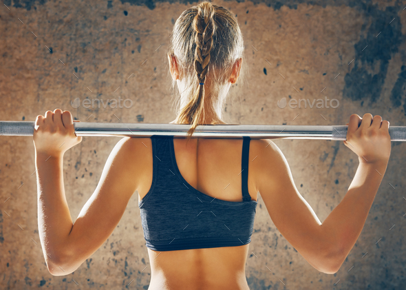 exercise with weight bar - Stock Photo - Images