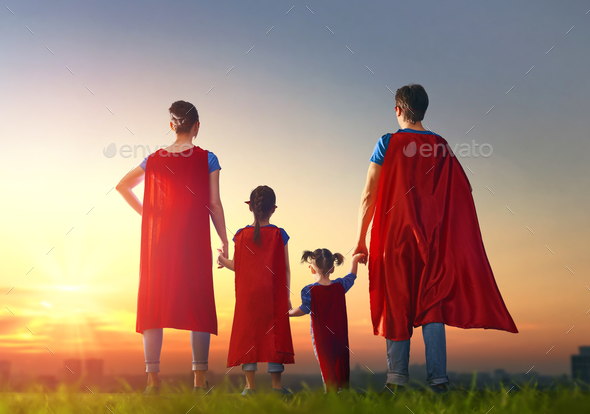 Concept of super family. - Stock Photo - Images