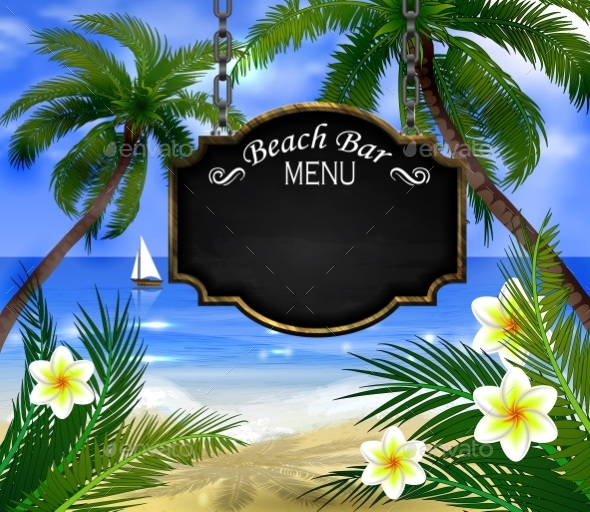 Summer Wooden Sign on Tropical Beach Background - Landscapes Nature