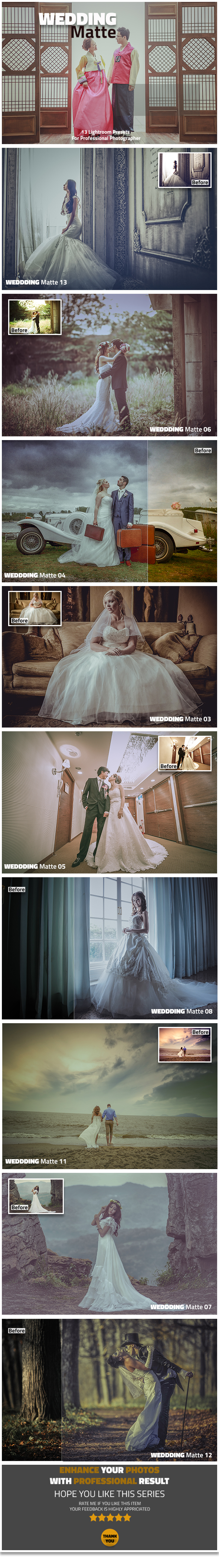 13 Wedding Matte Lightroom Presets - Lightroom Presets Add-ons