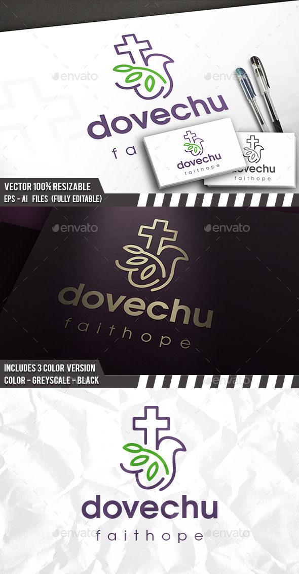 Church Cross Dove Logo - Symbols Logo Templates
