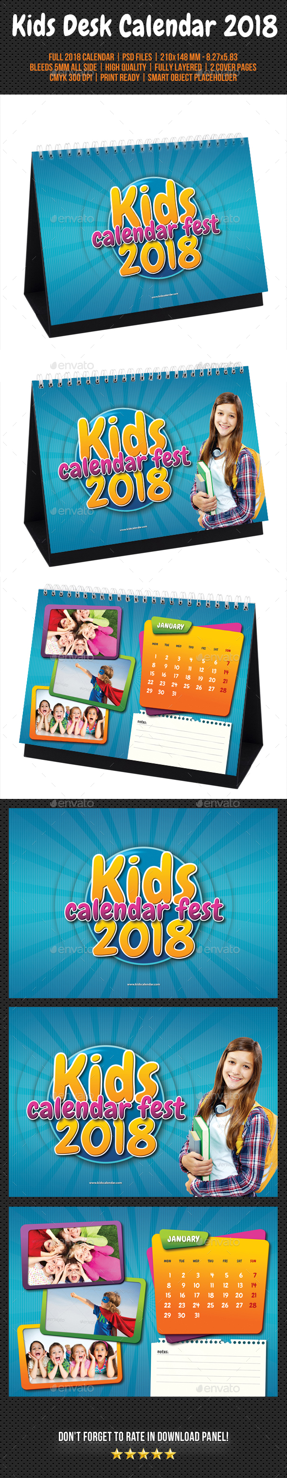 Kids Desk Calendar : Kids desk calendar by rapidgraf graphicriver