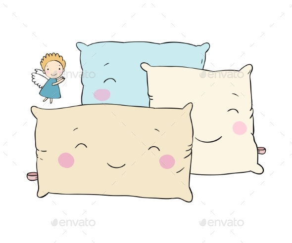 Pillows and Angel - People Characters