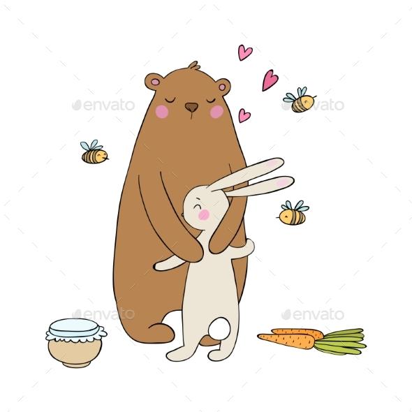 Cartoon Bear and Hare - Miscellaneous Vectors
