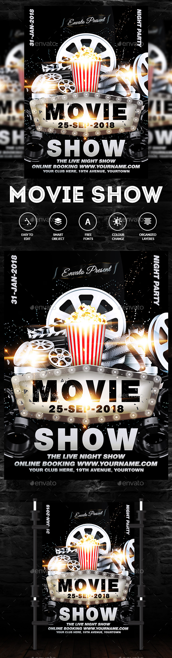Movie Show Flyer - Clubs & Parties Events